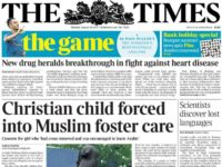 Times uses front page for IPSO ruling that paper's article 'distorted' facts on Christian girl in Muslim foster care