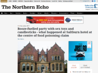 Northern Echo runs front page correction after wrongly labelling woman's 40th birthday celebration at hotel a 'sex party'